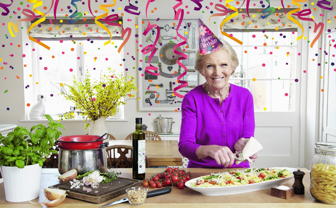 Mary Berry in a party hat