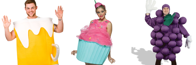 Beer, cupcake and grape costumes