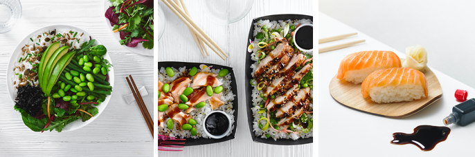 Delicious dishes at Itsu